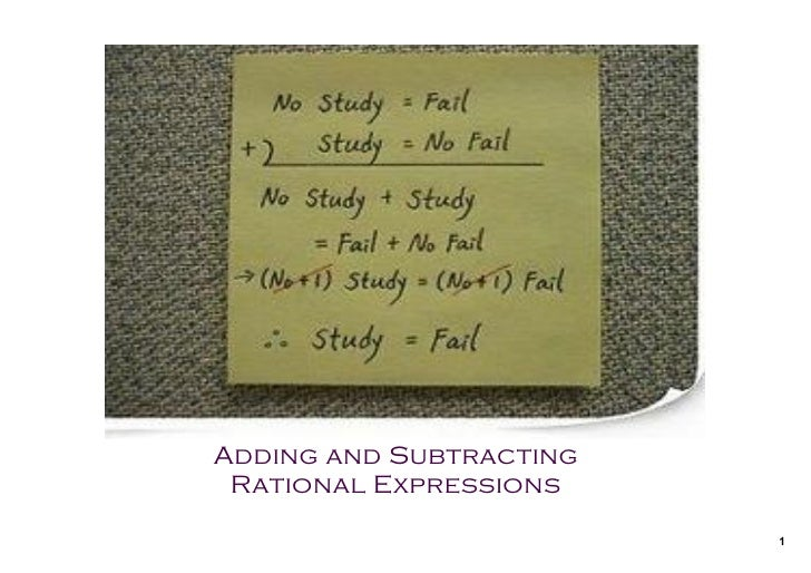 Precal 20 S Adding And Subtracting Rational Expressions