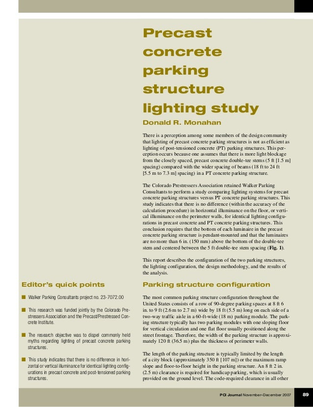 PCI Journal November–December 2007	 89 Editor's quick points ■  Walker Parking Consultants project no. 23-7072.00 ■  This ...