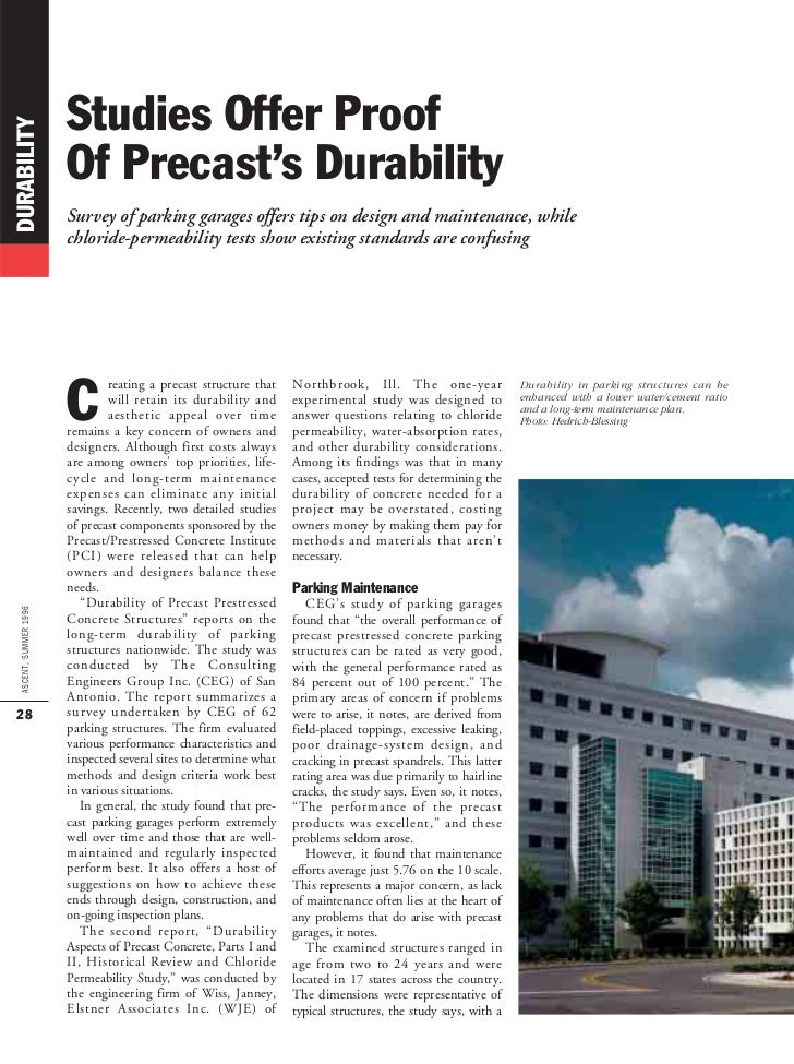 Studies Offer ProofDURABILITY                        Of Precast's Durability                        Survey of parking gara...