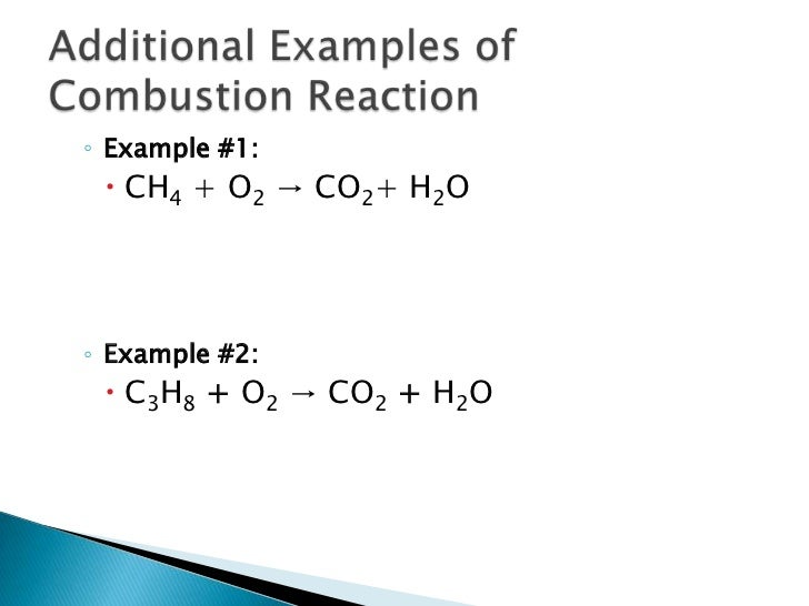 Combustion Reaction Equation Examples Classification of chemical ... Reactant Example