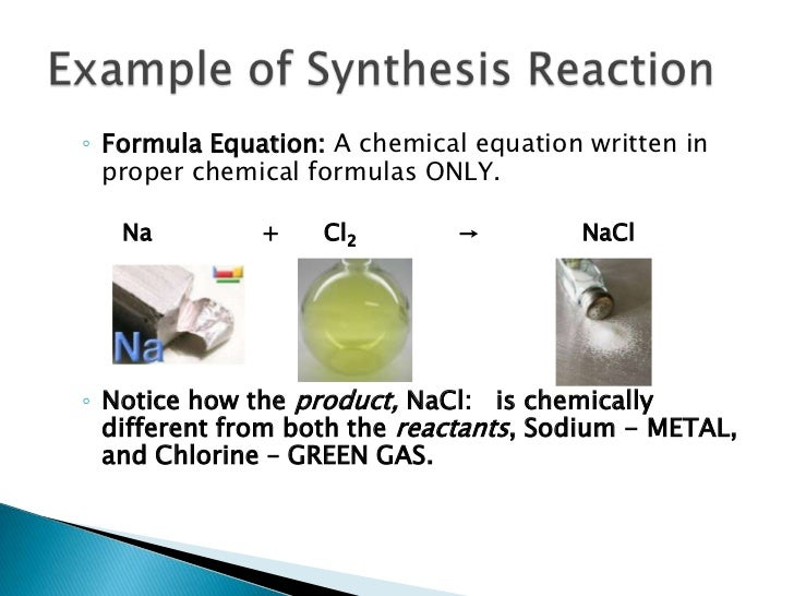 Synthesis Reaction Equation Examples Classification of chemical ... Reactant Example