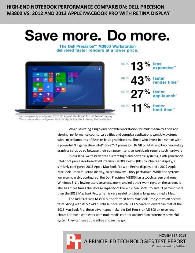 HIGH-END NOTEBOOK PERFORMANCE COMPARISON: DELL PRECISION M3800 VS. 2012 AND 2013 APPLE MACBOOK PRO WITH RETINA DISPLAY  Wh...