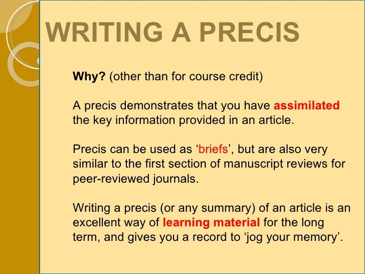 essay and precis writing books Detailed step-by-step guide to writing a critical précis includes précis definition, format and 4 examples as well as an essay, a precis consists of three parts.