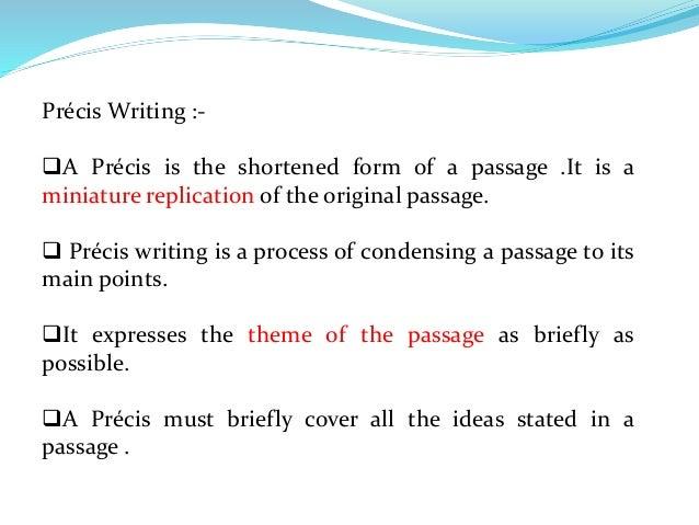how to write a precis summary