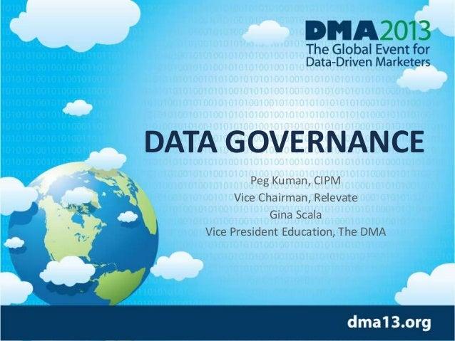 © 2013, HSI DATA GOVERNANCE Peg Kuman, CIPM Vice Chairman, Relevate Gina Scala Vice President Education, The DMA
