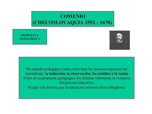 COMENIO (CHECOSLOVAQUIA 1592 – 1670) PROPUESTA PEDAGÓGICA •Su método pedagógico tenía como base los procesos naturales del...