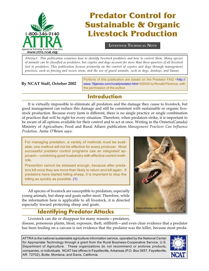 Predator Control for Sustainable & Organic Livestock Production