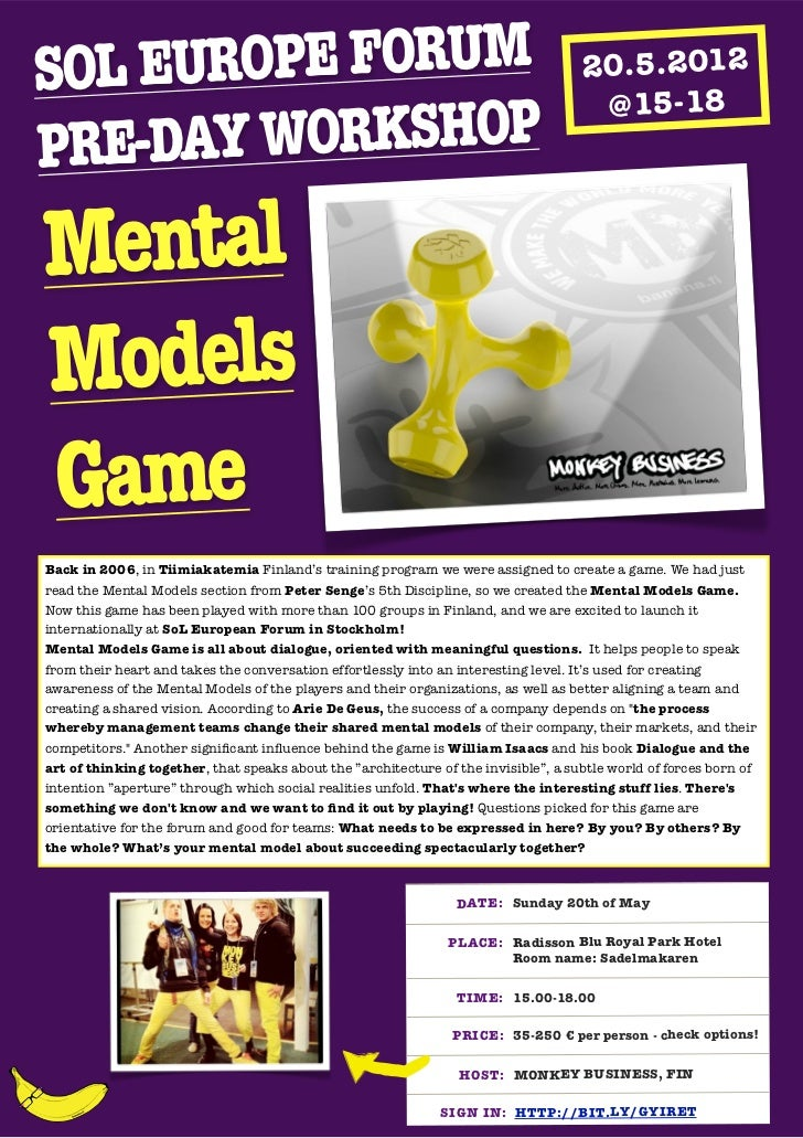Pre-Day Mental Models Game at the SoL Europe Forum