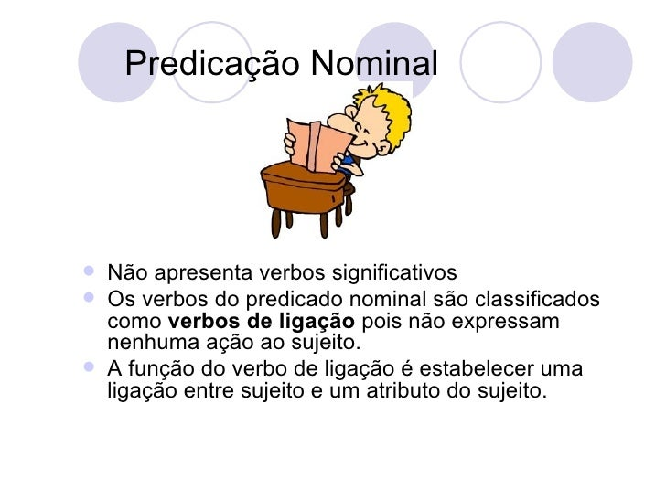 Predicação Nominal <ul><li>Não apresenta verbos significativos </li></ul><ul><li>Os verbos do predicado nominal são classi...