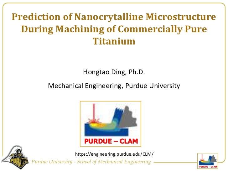 Microstructure prediction in cutting of Titanium