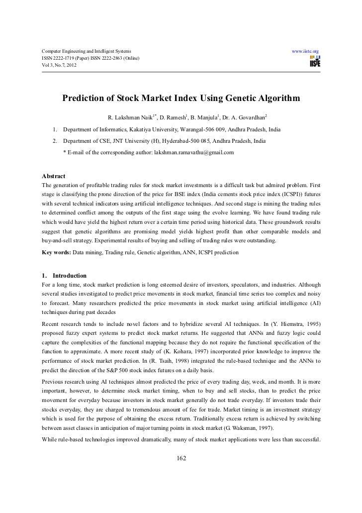 Prediction of stock market index using genetic algorithm