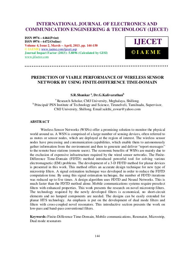 Prediction of viable performance of wireless sensor network by using finite
