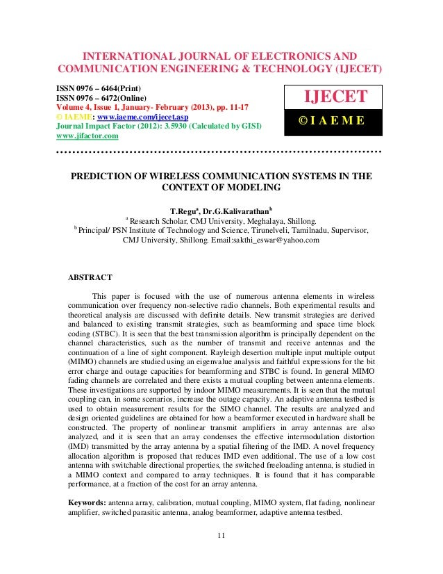 Prediction of wireless communication systems in the context of modeling 2-3-4