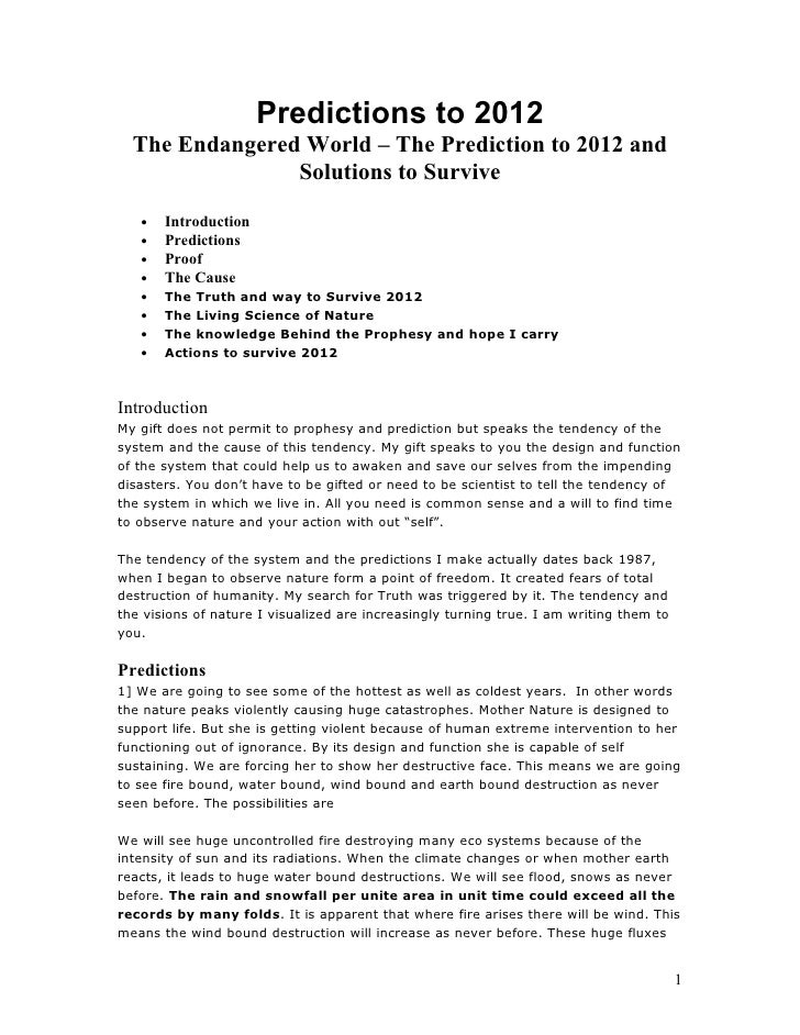 Predictions to 2012   The Endangered World – The Prediction to 2012 and                 Solutions to Survive     •   Intro...