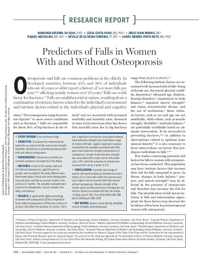 Predictors of falls in women