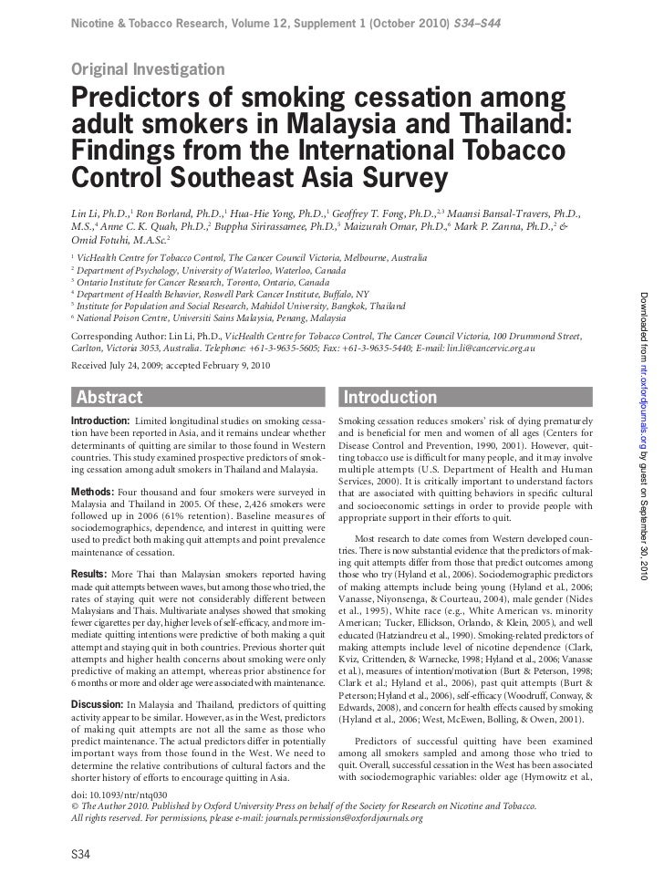 Nicotine & Tobacco Research, Volume 12, Supplement 1 (October 2010) S34–S44Original InvestigationPredictors of smoking ces...