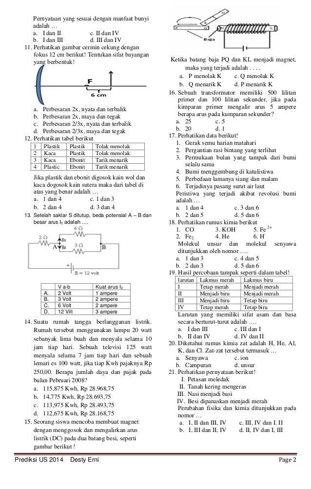 Prediksi Soal Ujian Sekolah 2014