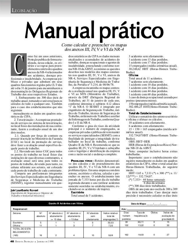 Preenchimento Quadros III, IV,V,VI DA NR4