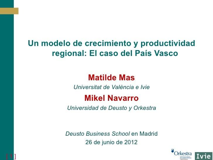 Un modelo de crecimiento y productividad           regional: El caso del País Vasco                      Matilde Mas      ...