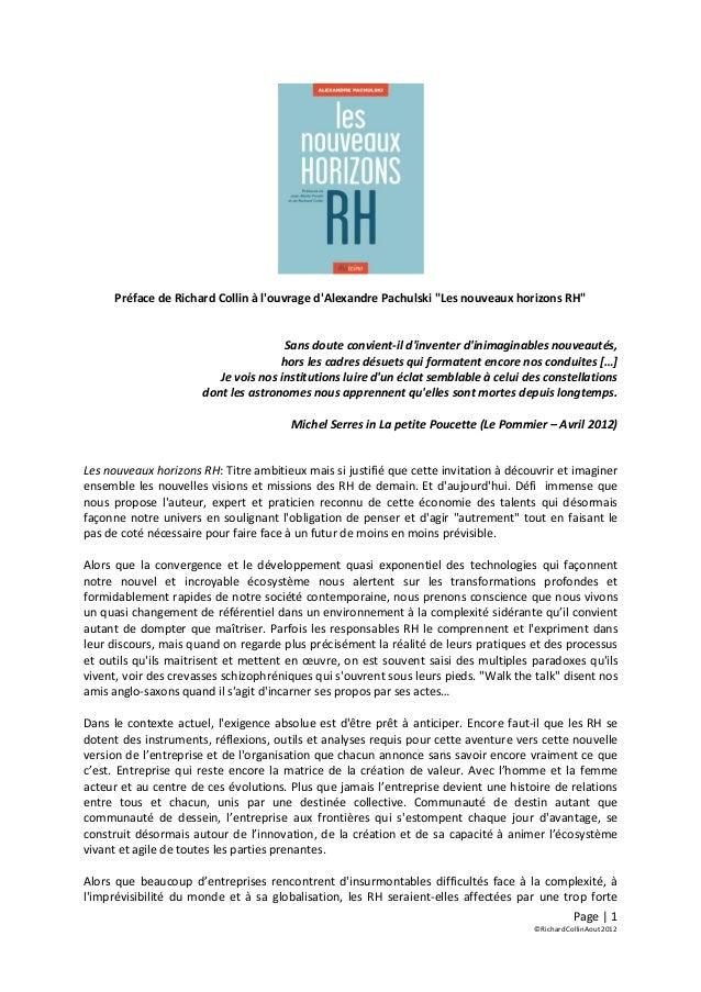 """Préface de Richard Collin à louvrage dAlexandre Pachulski """"Les nouveaux horizons RH""""                                      ..."""