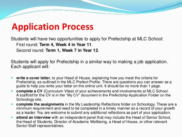 app letter prefect College prefect application 1 what makes a good prefect 2 the role of college prefect 3 the application process 4 online application 1 online application.