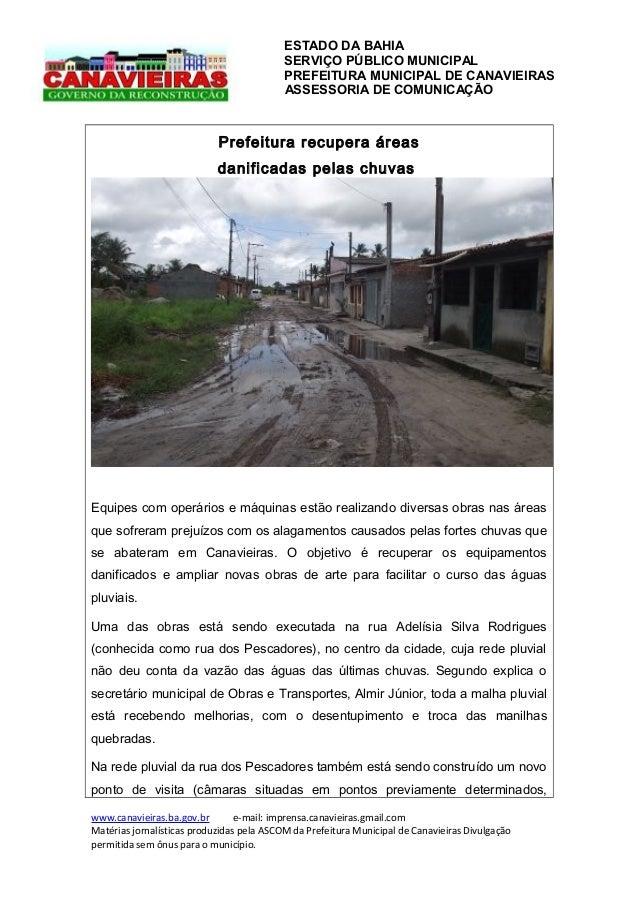 ESTADO DA BAHIA SERVIÇO PÚBLICO MUNICIPAL PREFEITURA MUNICIPAL DE CANAVIEIRAS ASSESSORIA DE COMUNICAÇÃO  Prefeitura recupe...