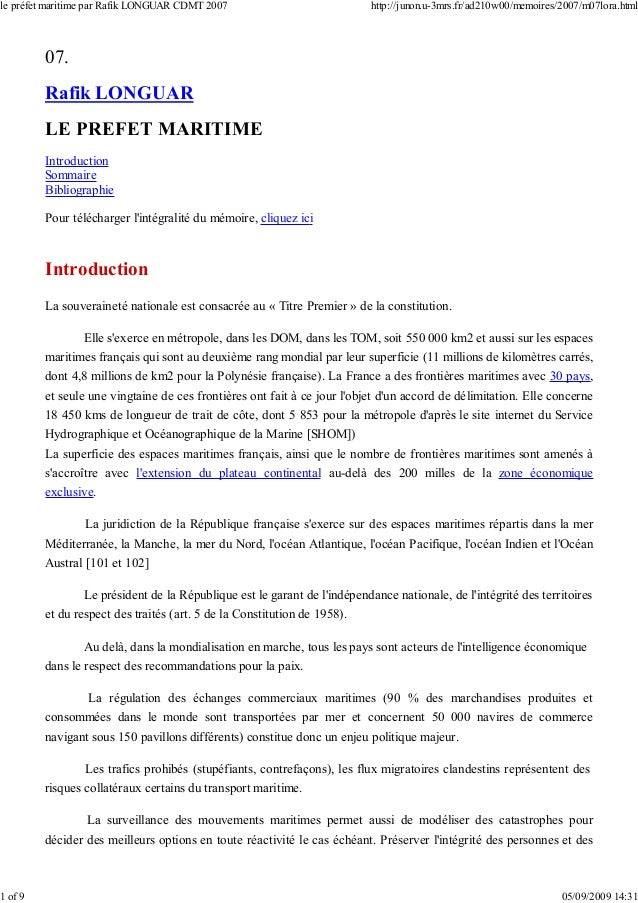 07. Rafik LONGUAR LE PREFET MARITIME Introduction Sommaire Bibliographie Pour télécharger l'intégralité du mémoire, clique...
