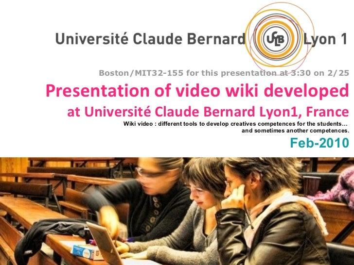 Presentation of video wiki developed at Université Claude Bernard Lyon1