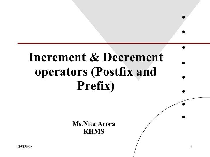 Increment & Decrement operators (Postfix and Prefix) Ms.Nita Arora KHMS