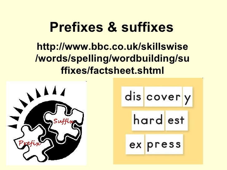 Prefixes & suffixes http://www.bbc.co.uk/skillswise/words/spelling/wordbuilding/suffixes/factsheet.shtml