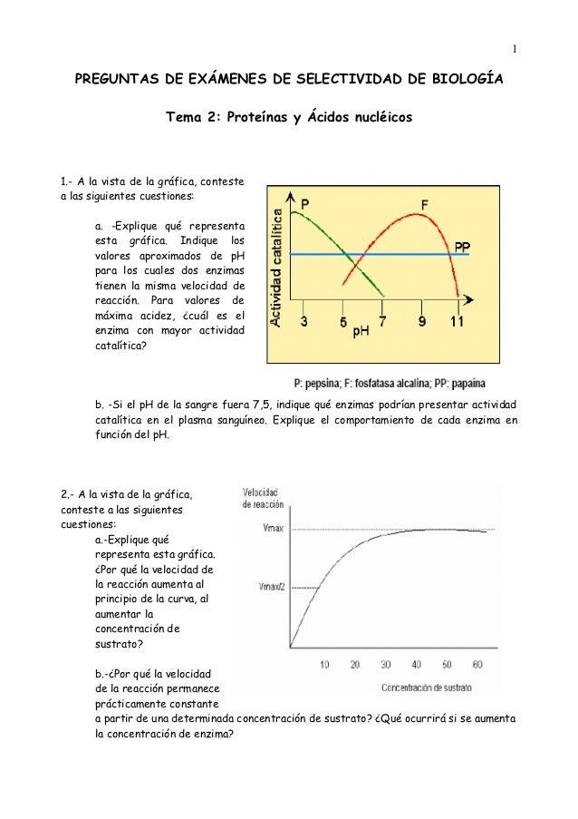 1   PREGUNTAS DE EXÁMENES DE SELECTIVIDAD DE BIOLOGÍA                      Tema 2: Proteínas y Ácidos nucléicos1.- A la vi...