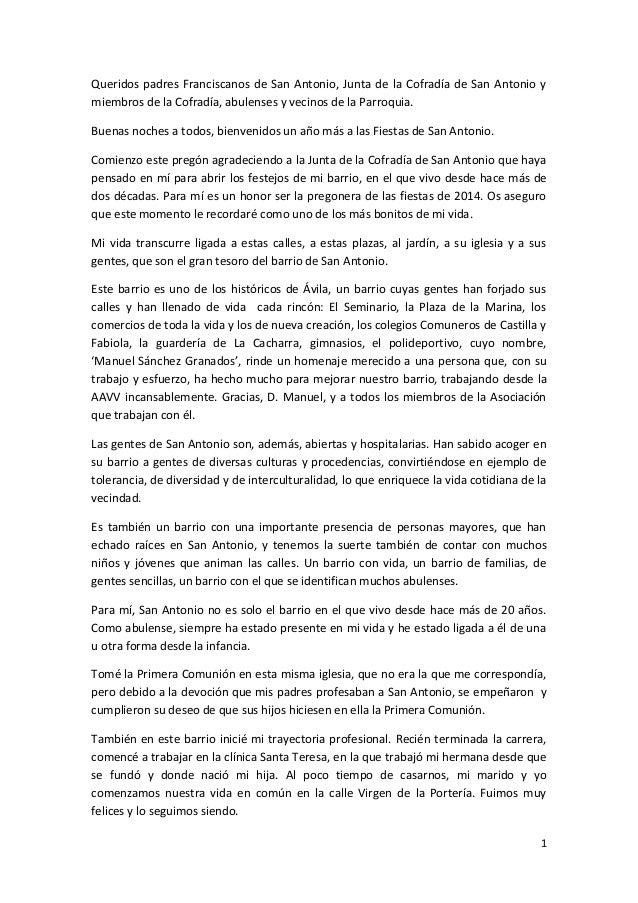 Queridos padres Franciscanos de San Antonio, Junta de la Cofradía de San Antonio y miembros de la Cofradía, abulenses y ve...
