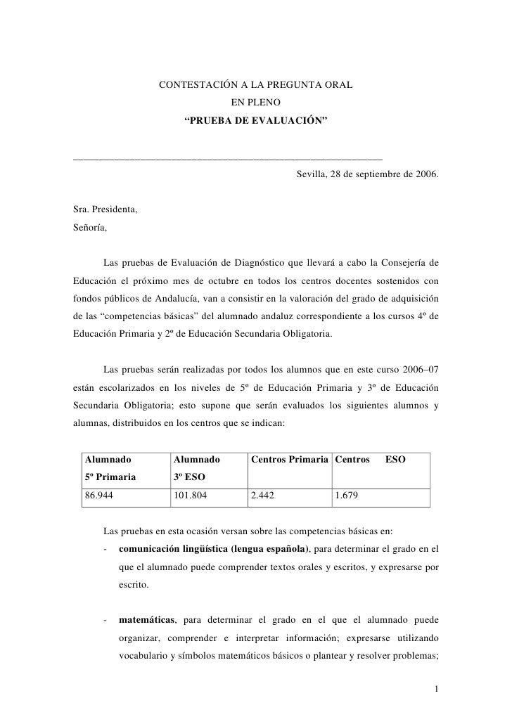 """CONTESTACIÓN A LA PREGUNTA ORAL                                       EN PLENO                            """"PRUEBA DE EVALU..."""