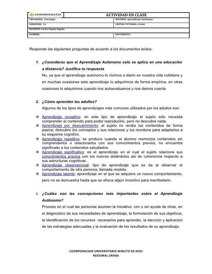 ACTIVIDAD EN CLASEPROGRAMA: Psicología                                       MATERIA: Aprendizaje AutónomoSEMESTRE: I A   ...