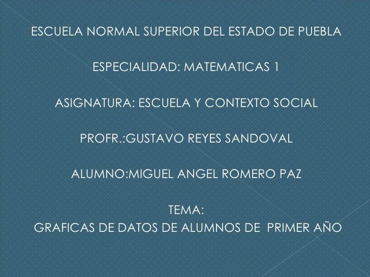 <ul><li>ESCUELA NORMAL SUPERIOR DEL ESTADO DE PUEBLA </li></ul><ul><li>ESPECIALIDAD: MATEMATICAS 1 </li></ul><ul><li>ASIGN...