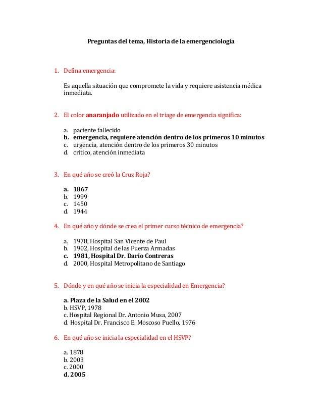 Preguntas  historia de emergenciología