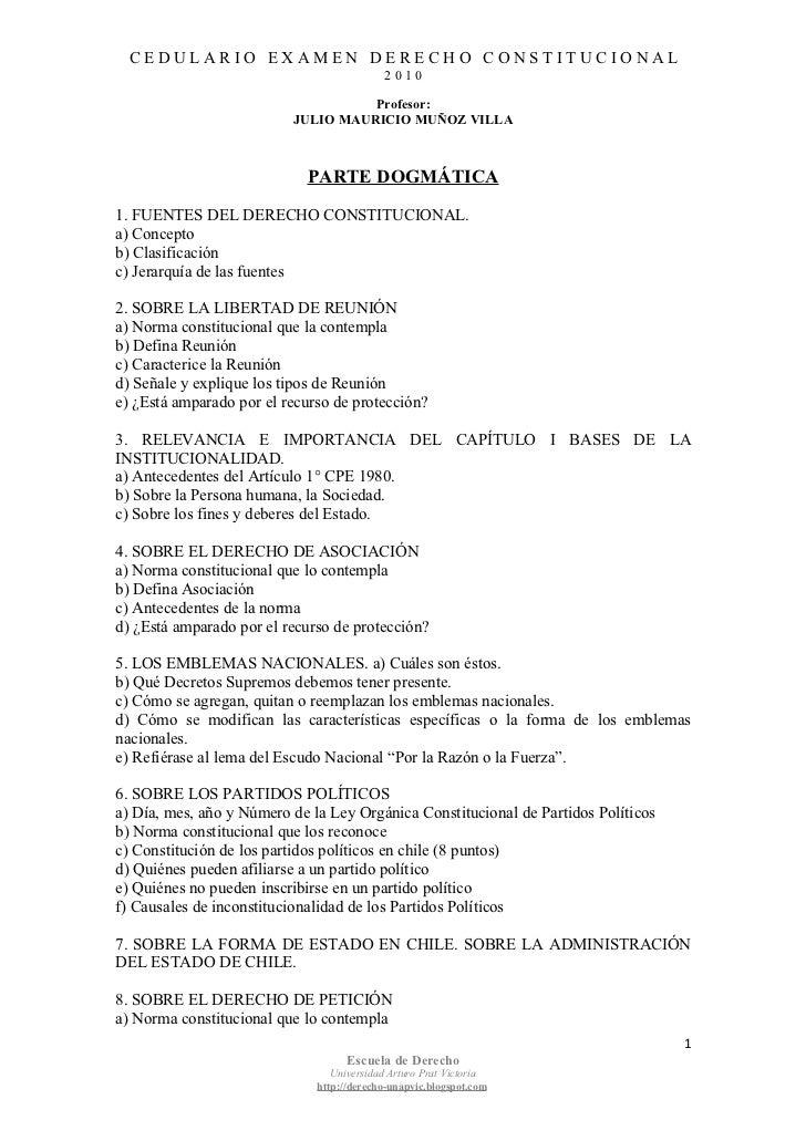 Derecho Constitucional. Cedulario Examen de fin de año