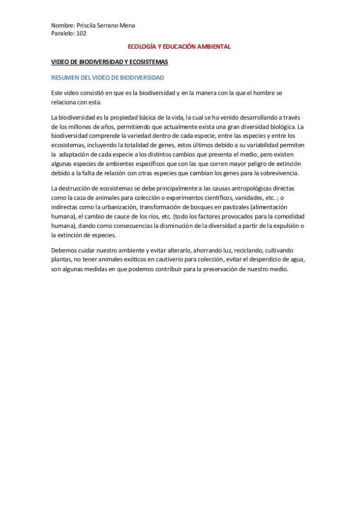 ECOLOGÍA Y EDUCACIÓN AMBIENTAL<br />VIDEO DE BIODIVERSIDAD Y ECOSISTEMAS<br />RESUMEN DEL VIDEO DE BIODIVERSIDAD<br />Este...
