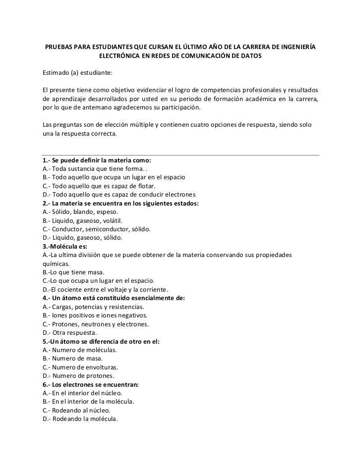 PRUEBAS PARA ESTUDIANTES QUE CURSAN EL ÚLTIMO AÑO DE LA CARRERA DE INGENIERÍA               ELECTRÓNICA EN REDES DE COMUNI...