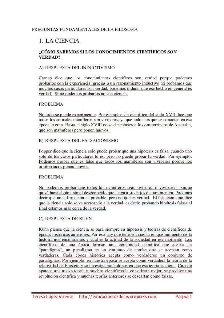 PREGUNTAS FUNDAMENTALES DE LA FILOSOFÍA   1. LA CIENCIA   ¿CÓMO SABEMOS SI LOS CONOCIMIENTOS CIENTÍFICOS SON   VERDAD?   A...
