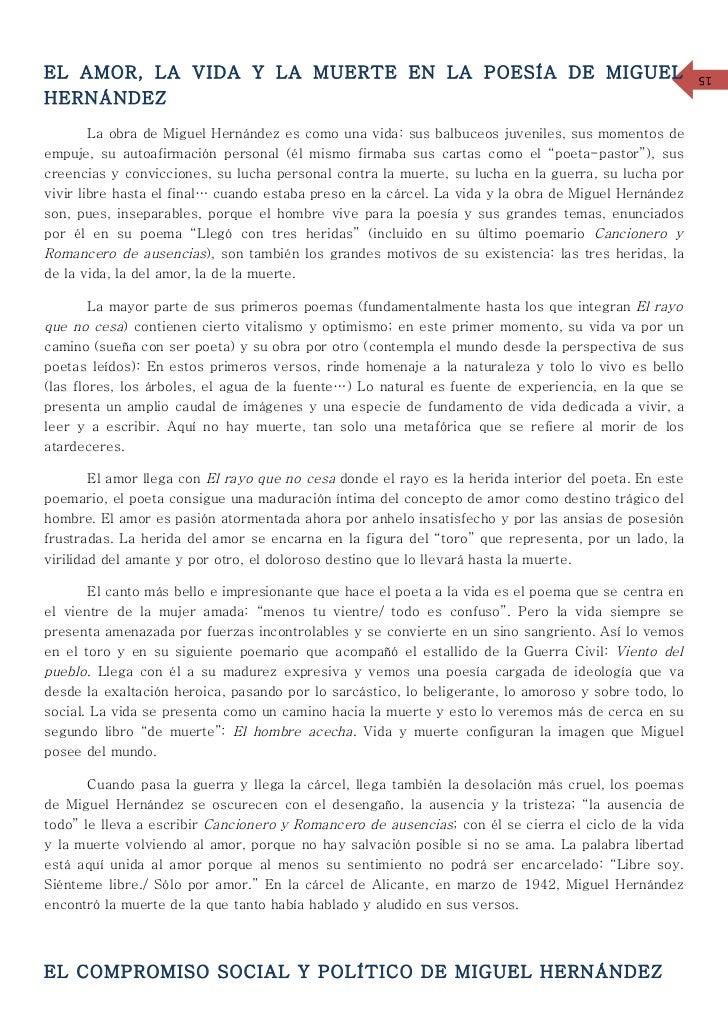 EL AMOR, LA VIDA Y LA MUERTE EN LA POESÍA DE MIGUEL                                                    15HERNÁNDEZ        ...