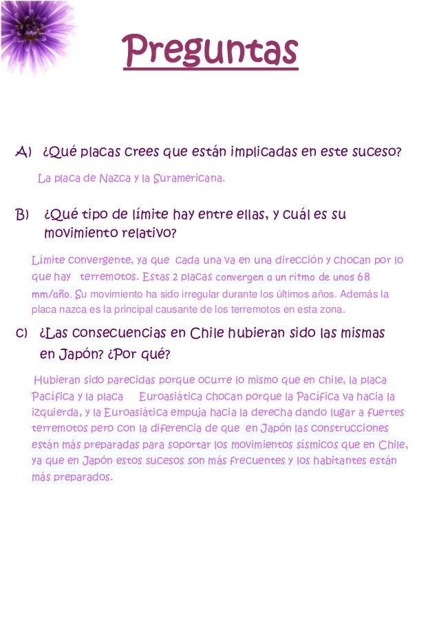 Preguntas A) ¿Qué placas crees que están implicadas en este suceso? La placa de Nazca y la Suramericana. B) ¿Qué tipo de l...