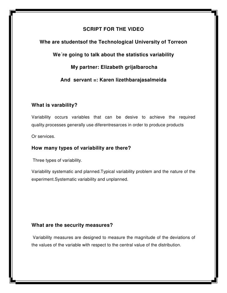 SCRIPT FOR THE VIDEO    Whe are studentsof the Technological University of Torreon           We´re going to talk about the...