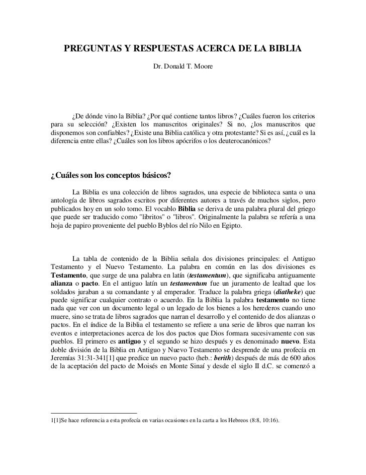 PREGUNTAS Y RESPUESTAS ACERCA DE LA BIBLIA                                           Dr. Donald T. Moore        ¿De dónde ...