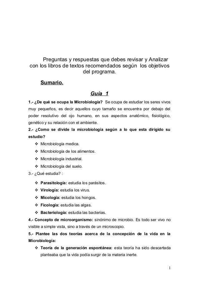 Preguntas y respuestas que debes revisar y Analizarcon los libros de textos recomendados según los objetivos              ...