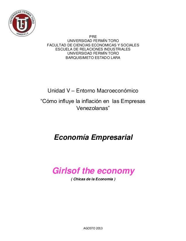 AGOSTO 2013 PRE UNIVERSIDAD FERMÍN TORO FACULTAD DE CIENCIAS ECONOMICAS Y SOCIALES ESCUELA DE RELACIONES INDUSTRIALES UNIV...