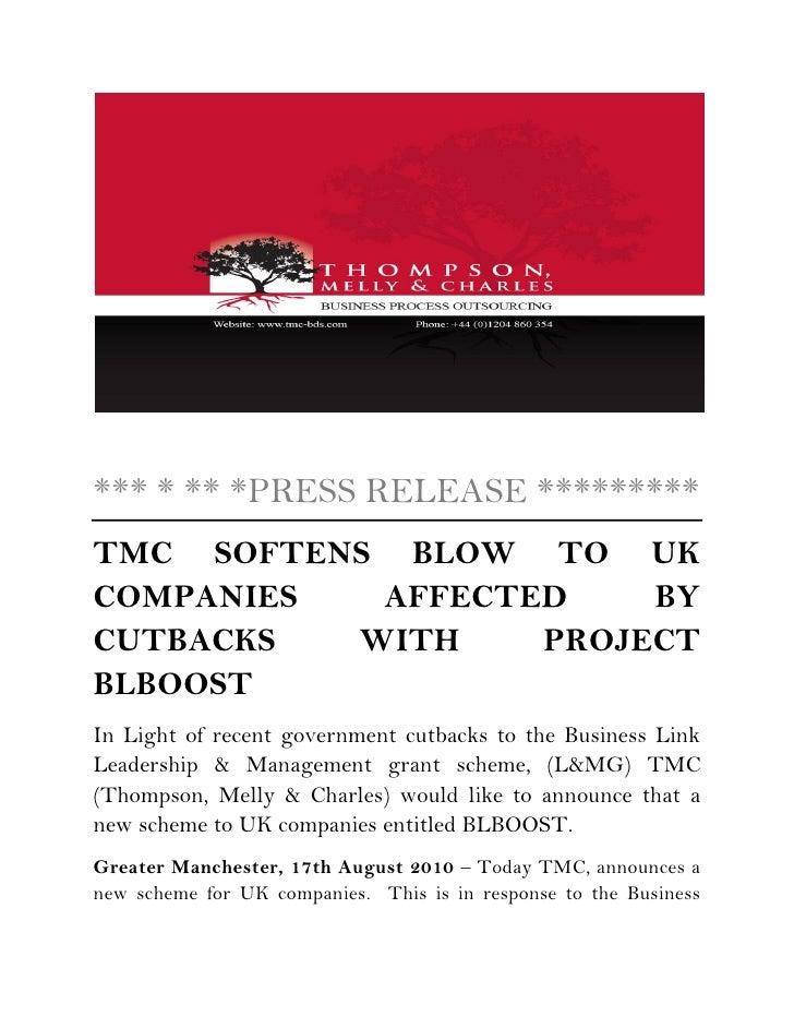 BLBOOST Press Release Grant Scheme