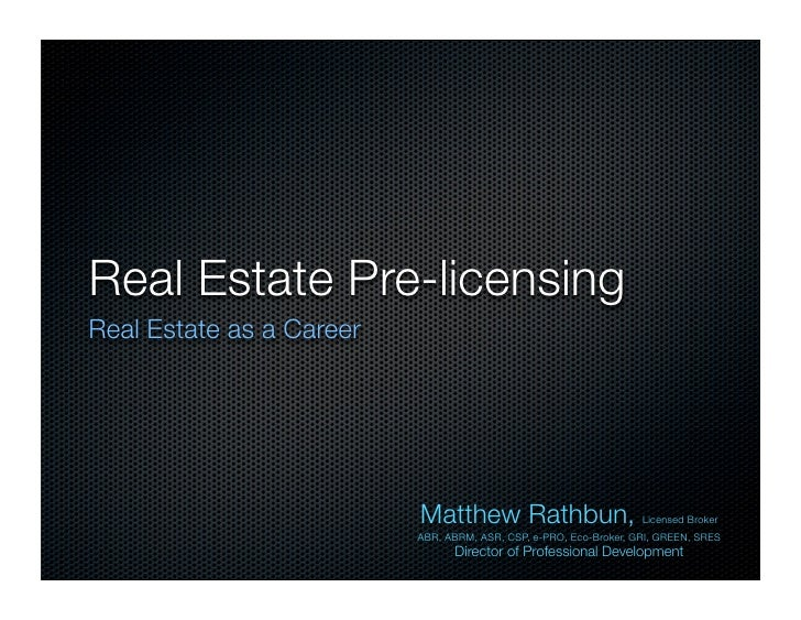 Pre Licensing First Session