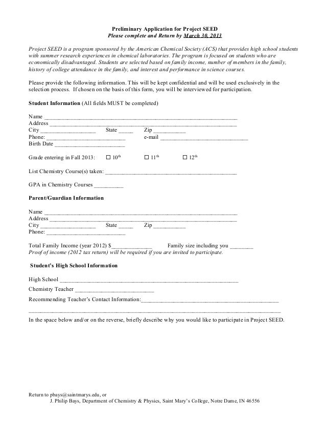 Preliminary Application for Project SEED                                   Please complete and Return by March 30, 2013Pro...