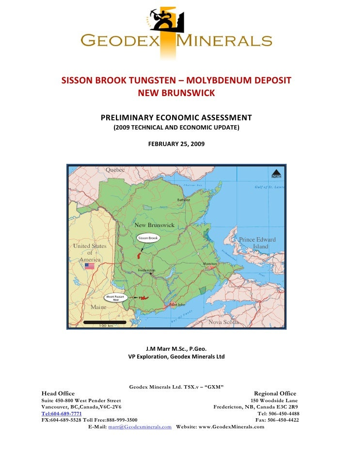 SISSON BROOK TUNGSTEN – MOLYBDENUM DEPOSIT                       NEW BRUNSWICK                        PRELIMINARY ECONOMIC...